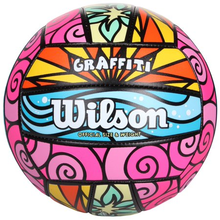 Wilson Official Size and Weight Graffiti Volleyball - I Love Volleyball