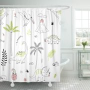 PKNMT Cool Dinosaur Modern Graphic Pattern Dino Egg Kid Monster Polyester Shower Curtain 60x72 inches