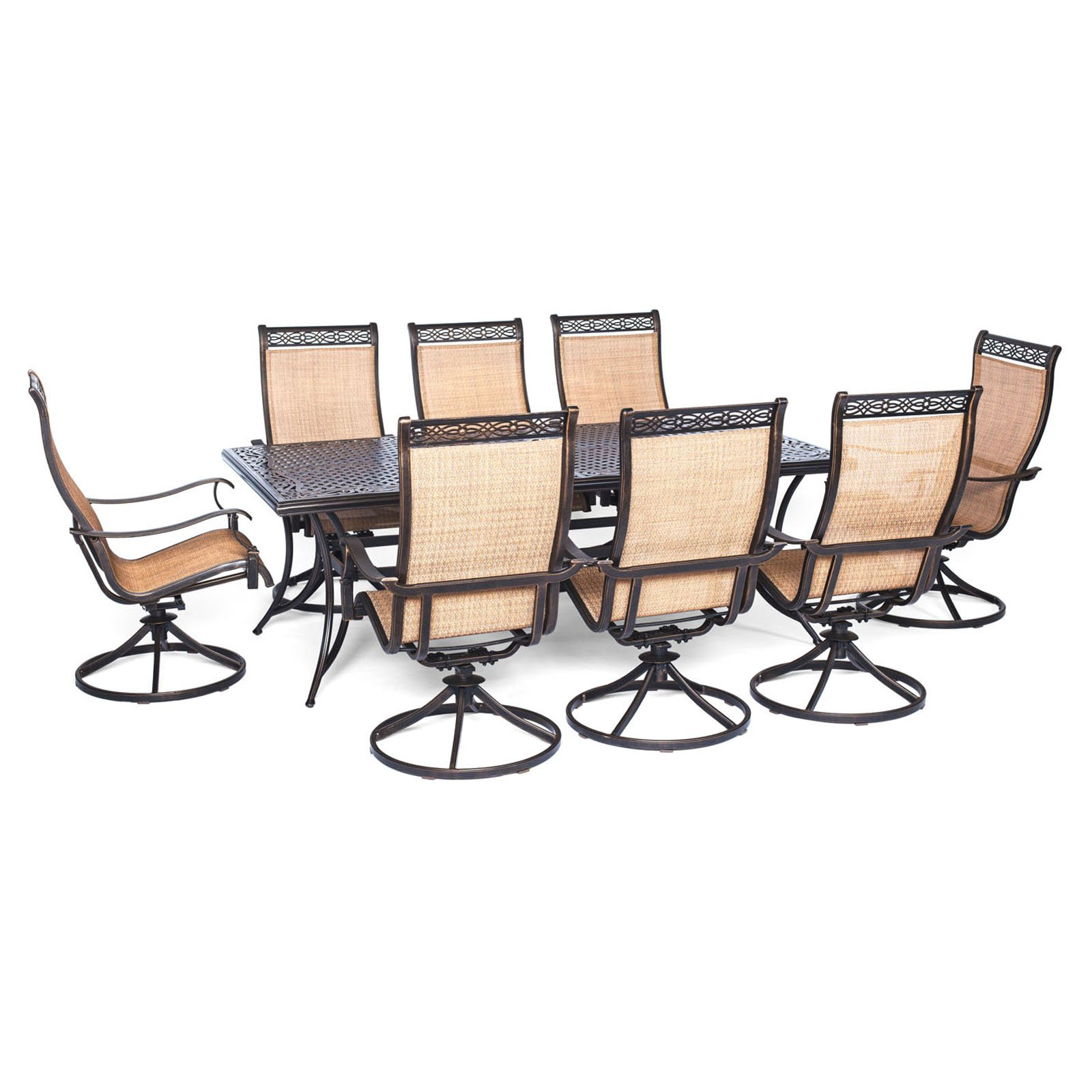 Hanover Outdoor Manor 9-Piece Outdoor Dining Set with 8 Swivel Rockers, Cedar/Bronze