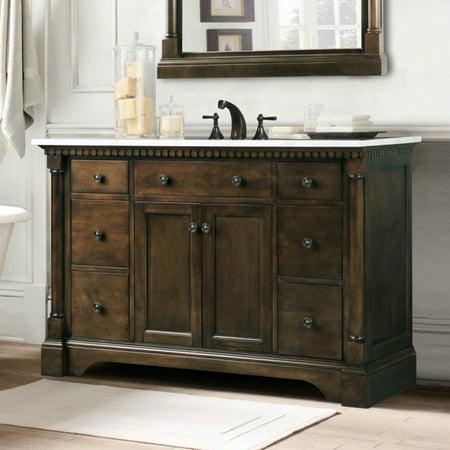 Double Vanity Antique (Legion Furniture WLF6036-48 48-in. Single Bathroom Vanity with Carrara White Top - Antique)