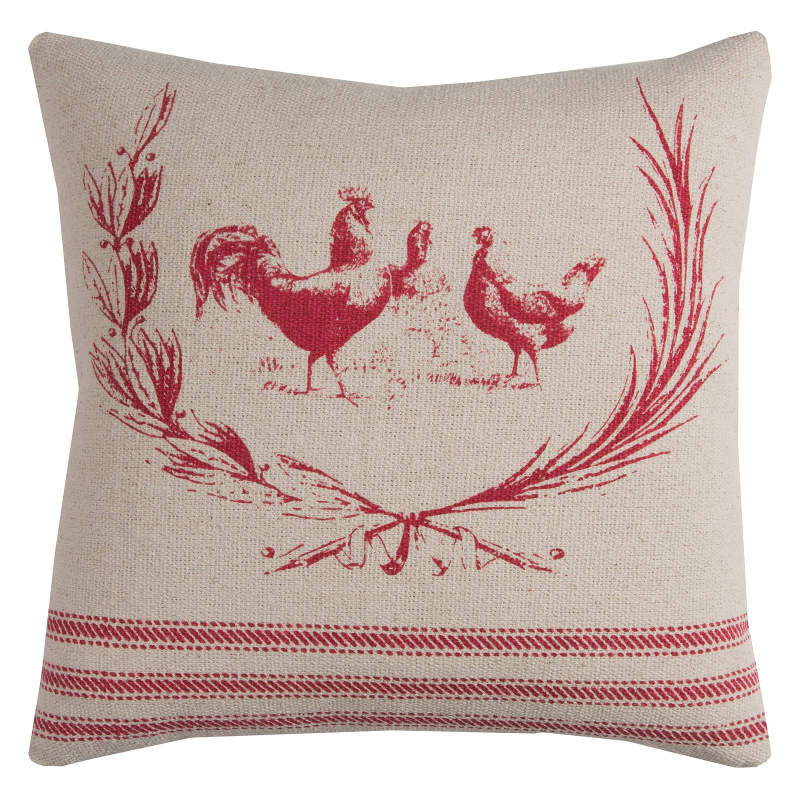 "Rizzy Home Farmhouse Rooster Cotton With Zipper Closer Decorative Throw Pillow, 20"" x 20"", Red"