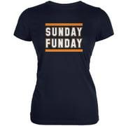 Sunday Funday Chicago Navy Juniors Soft T-Shirt - Medium