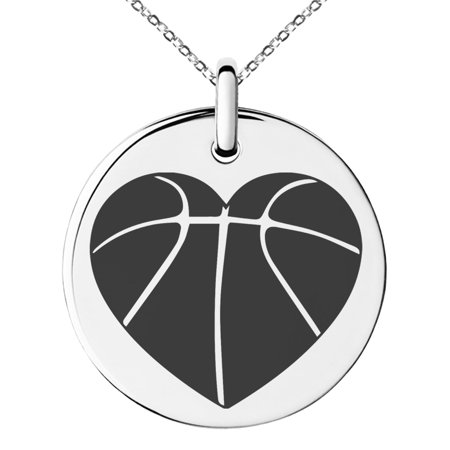 Love Basketball Charm (Stainless Steel Love Basketball Heart Engraved Small Medallion Circle Charm Pendant Necklace )