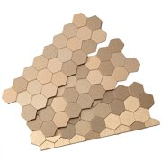 Aspect Peel and Stick Backsplash 11in x 4in Honeycomb Champagne Matted Metal Tile for Kitchen and Bathrooms (3-Pack)