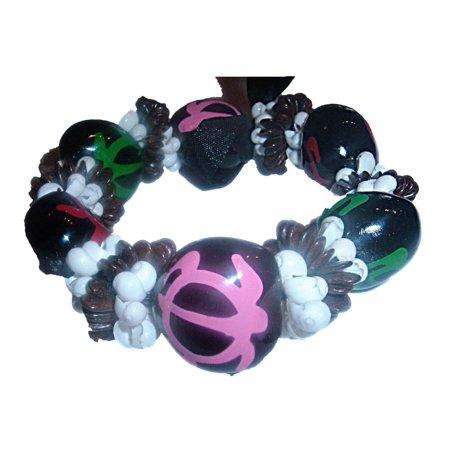 Hawaiian Black Kukui Nut & Shells w/ HP Honu Turtle Bracelet](Hawaiian Bracelet)