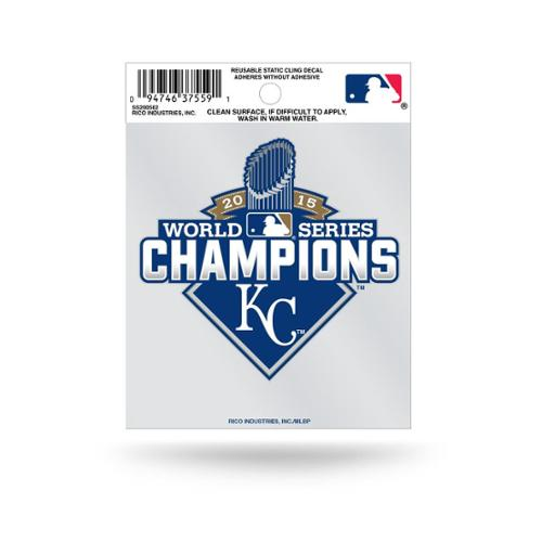 Kansas City Royals Official MLB 3.5 inch  x 3.75 inch  2015 World Series Champions Small Static Cling Window Car Decal by Rico