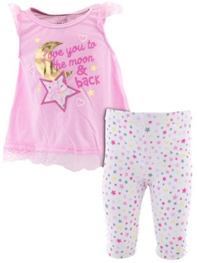 Duck Duck Goose Little Girls' To The Moon Pink Pajamas