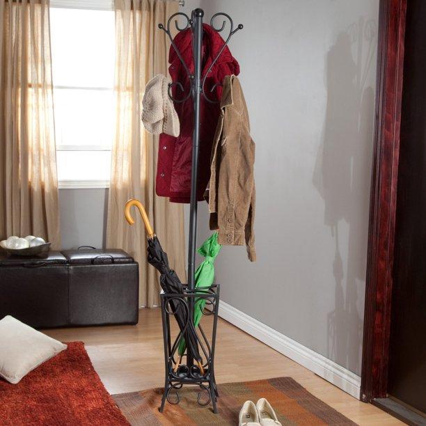 Southern Enterprises Scrolled Metal Coat Rack With Umbrella Stand, Black