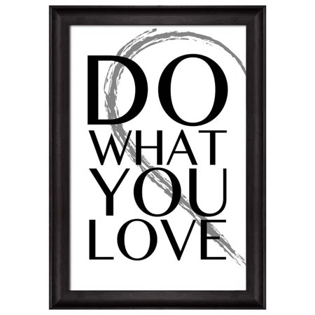 wall26 - Black and White Half Heart with a Quote - Do What You Love - Framed Art Prints, Home Decor - 16x24 inches