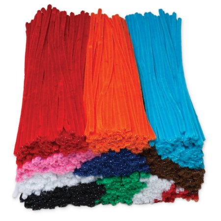 "Chenille Kraft Jumbo Stems, 12"" x 6mm, Metal Wire, Polyester, Assorted, 1000/Box"