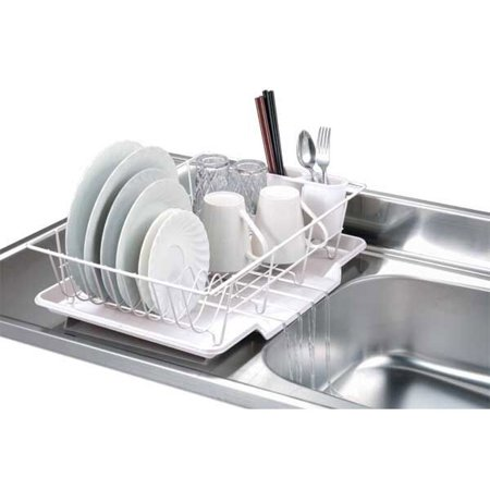 Home Basics Dd30234 Vinyl Coated Wire Kitchen Sink Dish Drainer Rack White