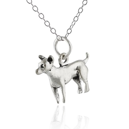 Sterling Silver Chihuahua Dog Charm Necklace, 18