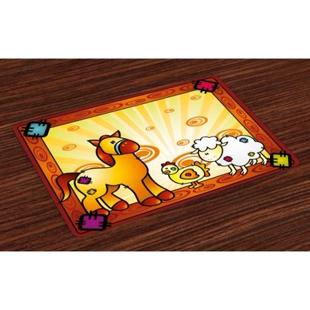 Motion Zoo (Kids Placemats Set of 4 Animal Friend Chicken Sheep and Horse with Patch Motif Zoo Joyful Cartoon Print, Washable Fabric Place Mats for Dining Room Kitchen Table Decor,Red Orange Yellow, by Ambesonne)