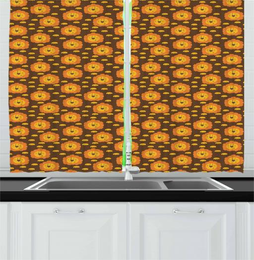 Lion Curtains 2 Panels Set, Little Funny Zoo Animals with Sleepy Faces and Paws Kids Cartoon Design, Window Drapes for Living Room Bedroom, 55W X 39L Inches, Brown Mustard and Orange, by Ambesonne