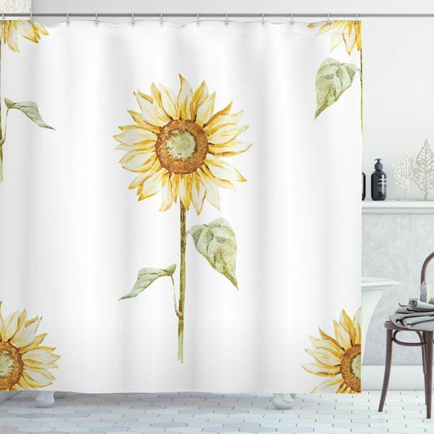Sunflower Decor Shower Curtain Set Sunflowers In Watercolor Painting Effect Minimalistic Design Decorative Artwork Bathroom Accessories 69w X 70l Inches By Ambesonne Walmart Com Walmart Com
