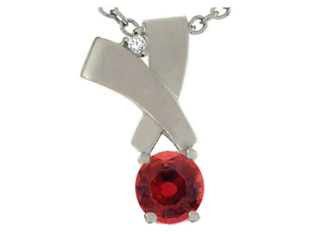 Tommaso Design Round 6mm Genuine Garnet Pendant Necklace by