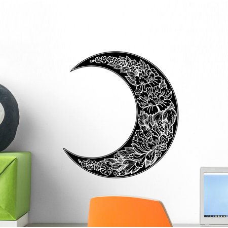 Crescent Decal - Romantic Peony Crescent Moon Wall Decal Wallmonkeys Peel and Stick Graphic (12 in H x 12 in W) WM502741