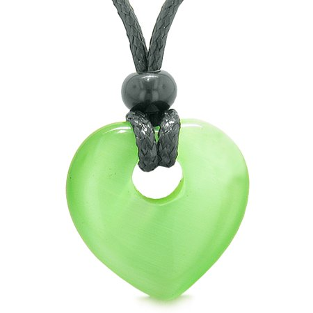 Rembrandt Cat Charm - Amulet Lucky Heart Donut Shaped Charm Neon Green Simulated Cats Eye Pendant Magic Powers Necklace