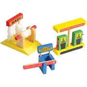 CP Toys Wooden 4 Story Parking Garage - Features 4 Wooden Cars and a Helicopter - 9 Pieces Total - Ages 3 Years and Up