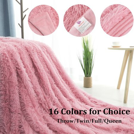 Decorative Long Shaggy Faux Fur Blanket,Soft Fuzzy Microfiber Fur Blanket For Bed Couch,Twin Size,60