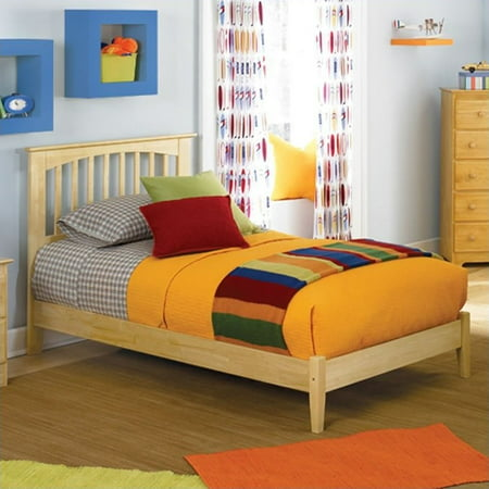 - Atlantic Furniture Brooklyn Platform Bed with Open Footrail in Natural Maple-Full