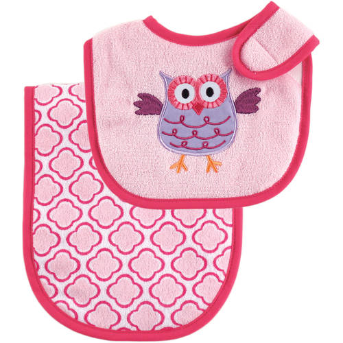 Luvable Friends Whale and Owl Bib and Burp Cloth, Choose Your Color