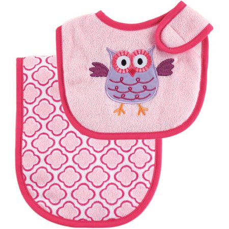 - Luvable Friends Baby Boy and Girl Bib and Burp Cloth, 2-Piece Set - Pink