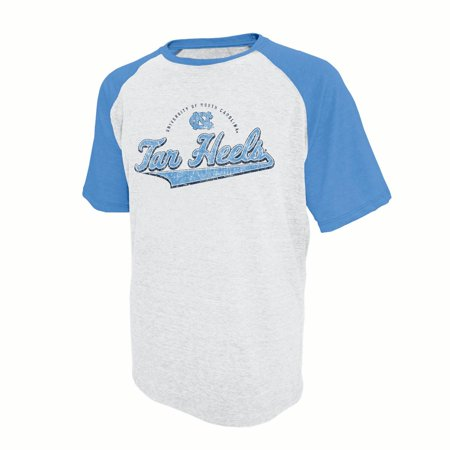 Men's Russell White North Carolina Tar Heels Athletic Fit Distressed T-Shirt