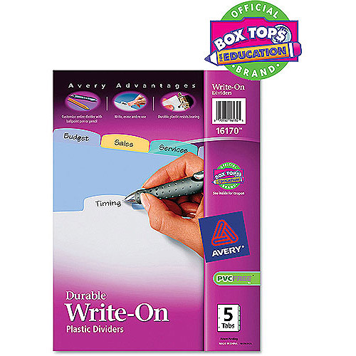 (4 Pack) Avery(R) Big Tab(TM) Write & Erase Durable Plastic Dividers 16170, 5 Multicolor Tabs, 1 Set