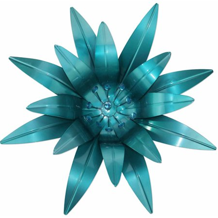 blue metal flower wall decor. Black Bedroom Furniture Sets. Home Design Ideas