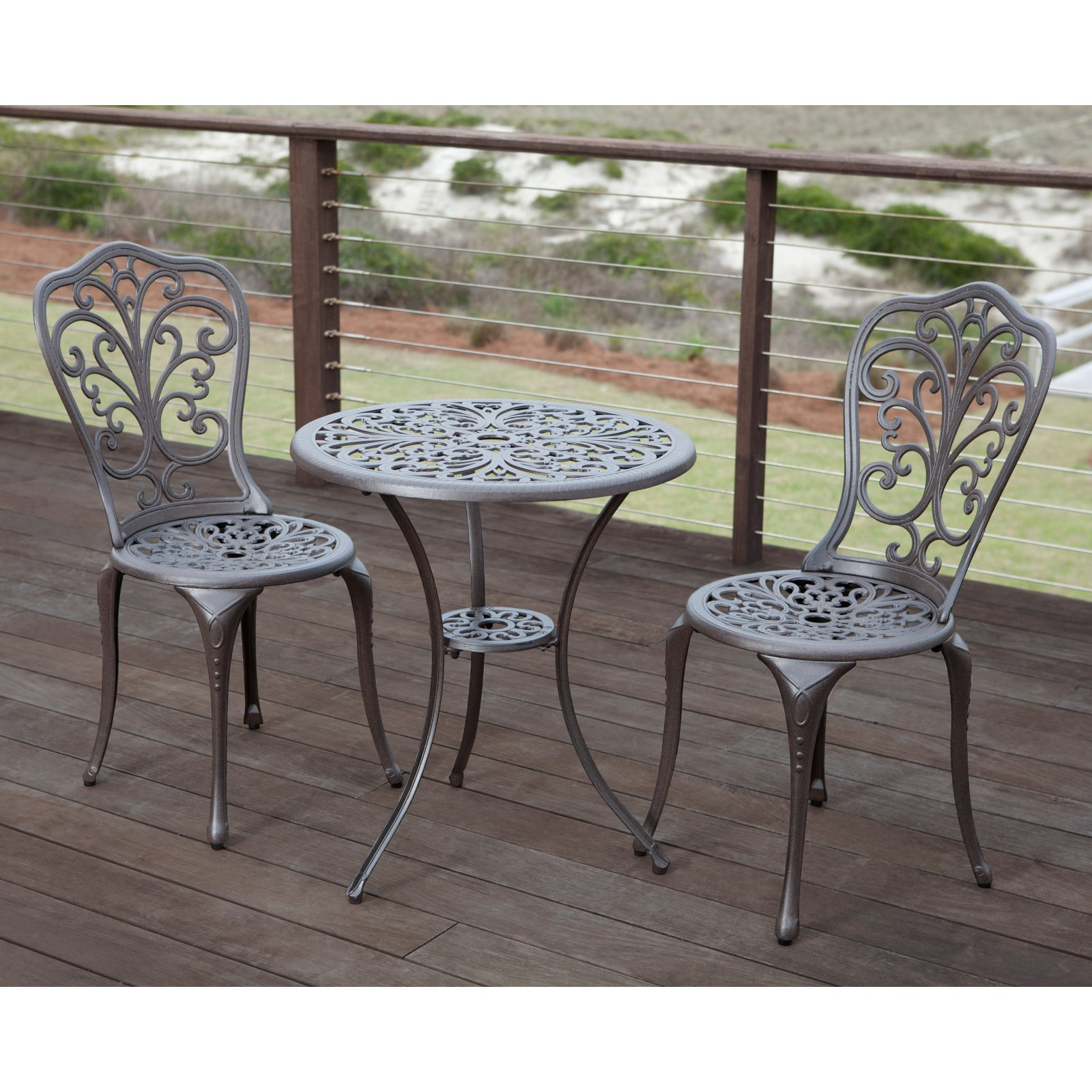 Patio Sense Faustina Antique Bronze Cast Aluminum 3-Piece Bistro Set