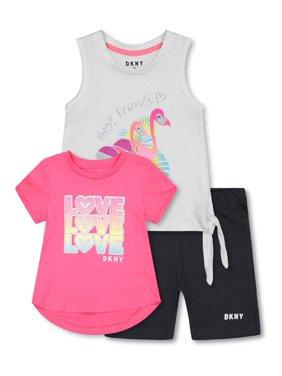 DKNY Toddler Girl Short Sleeve Love T-shirt, Tank Top & Bike Shorts, 3pc Outfit Set