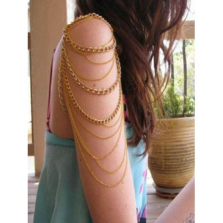 Pewter Slave Bracelet - Golden Arm Slave Harness Tassels Chain Upper Cuff Armband Armlet Bracelet Bangle