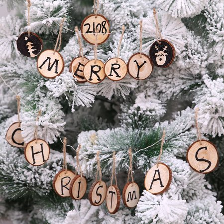 10Pcs Wooden Round Xmas Wedding Tree Hanging Ornament Decor For DIY Painted](Diy Ornaments For Christmas)