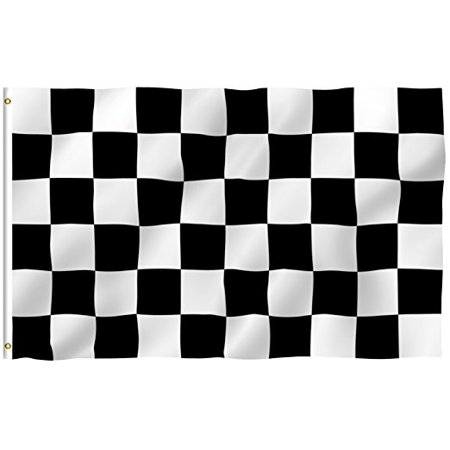 Checkered - Racing Outdoor Flag - Large 3' x 5' Banner Nascar Black & White , -