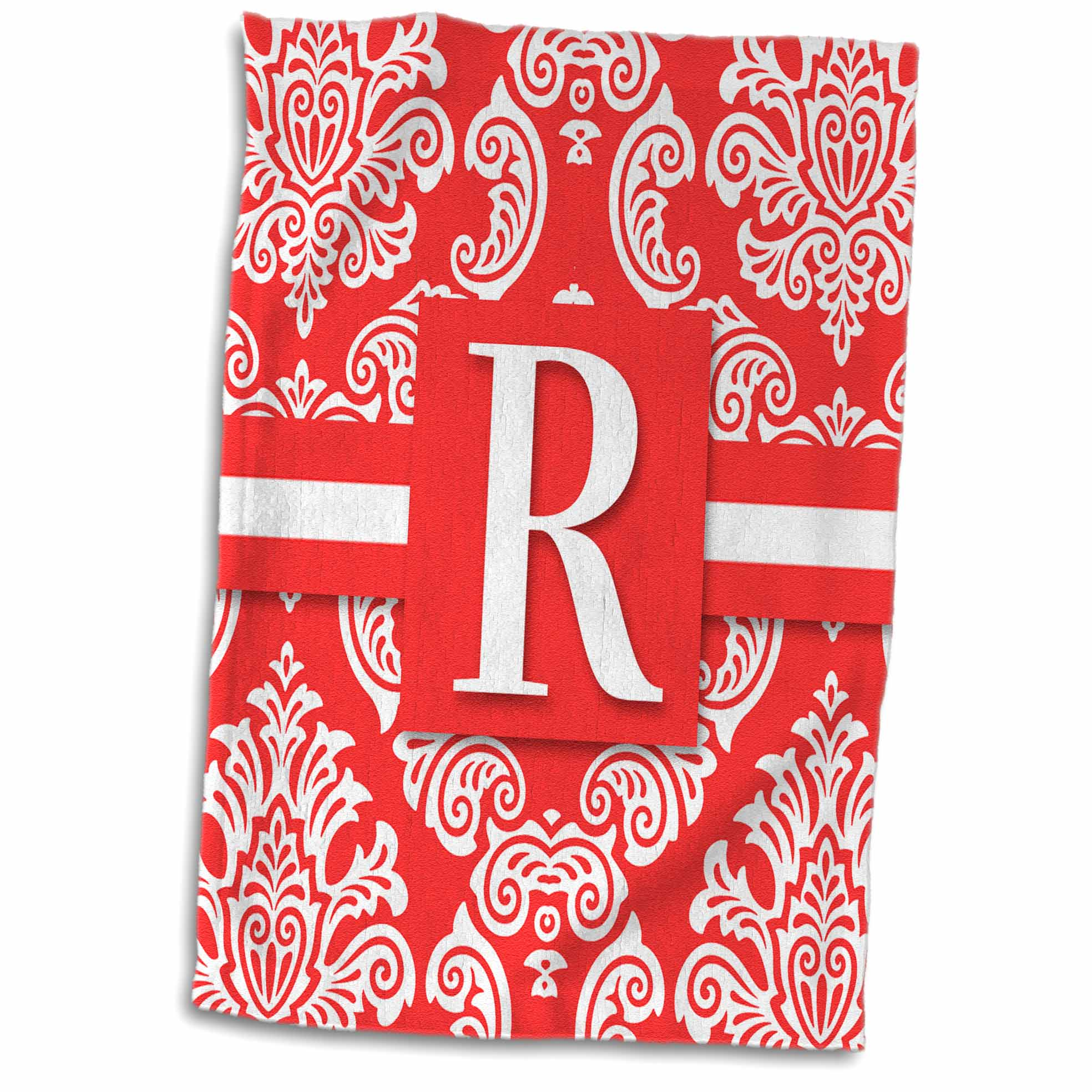 3dRose Letter R Monogram in Peach and White Vintage Damask Print - Towel, 15 by 22-inch