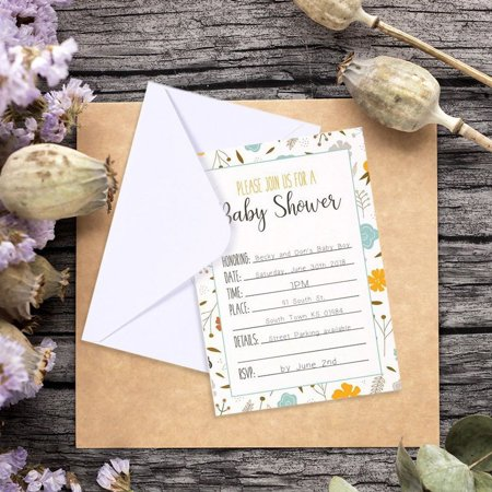 Print Your Own Invitations (50-Pack Baby Shower Invitations - Adorable Floral Design Invite Cards for your Celebration - Includes 50 White Envelopes - 5 x 7)