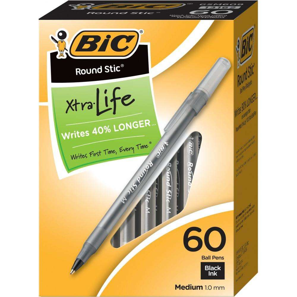 BIC Round Stic Xtra Life Ball Pen, Medium Point (1.0mm), Black, 60 Count