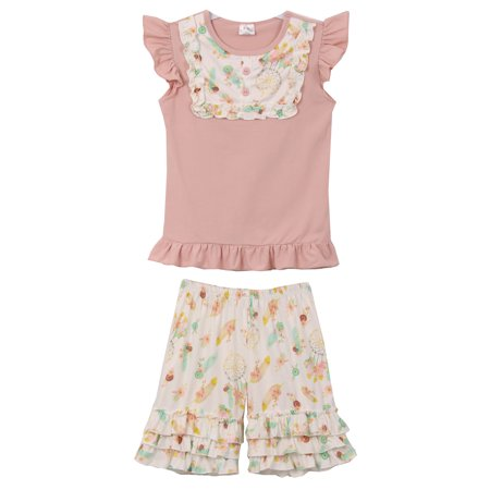 Toddler Girls 2 Pieces Short Set Ruffle Dream Catcher Capris Shorts Kids Outfit Blush 2T XS (P318123P)