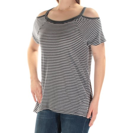 TOMMY HILFIGER Womens Gray Cut Out Striped Short Sleeve Jewel Neck Top Size: S