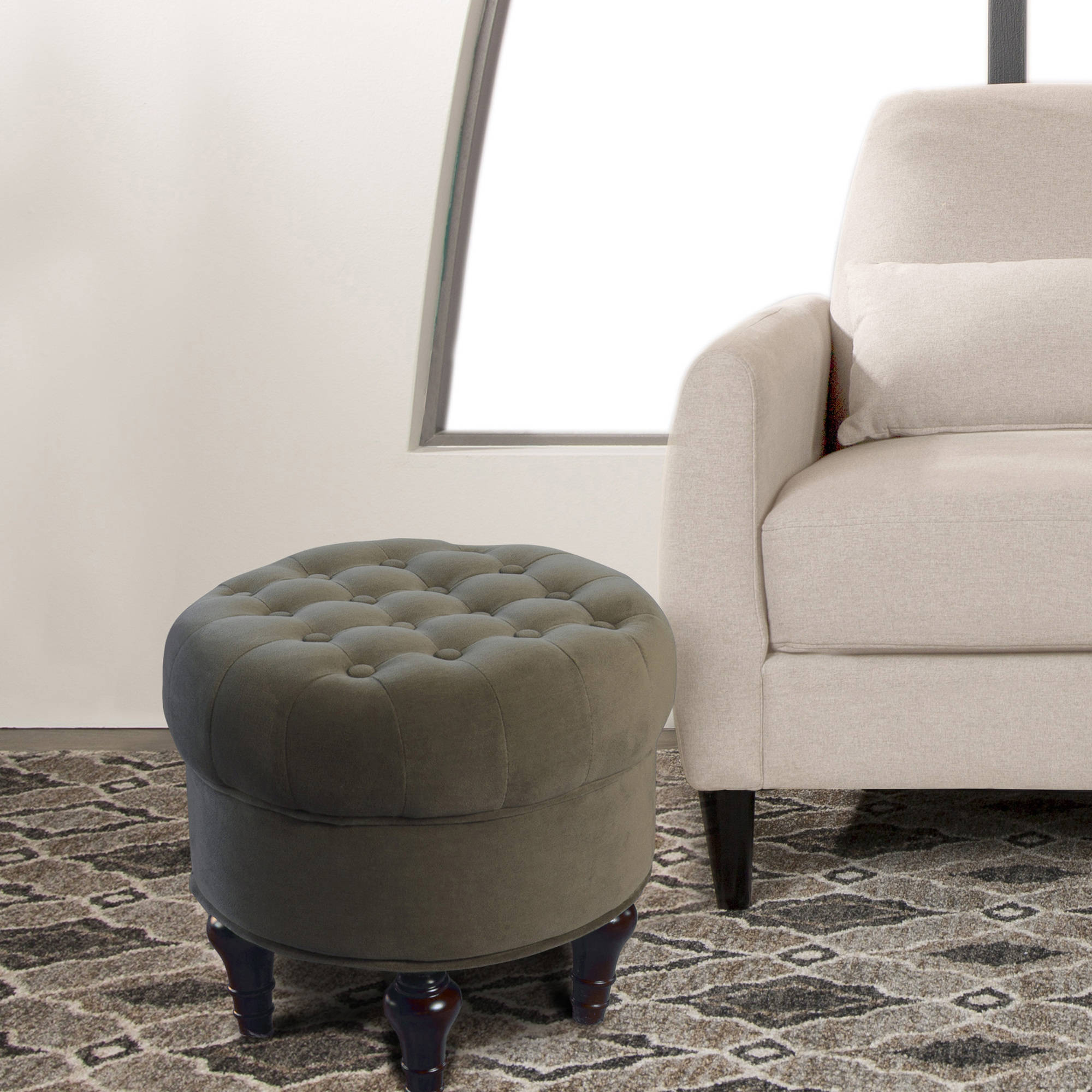Studio Designs Home Oculus Ottoman, Ash, Cornflower, Teal