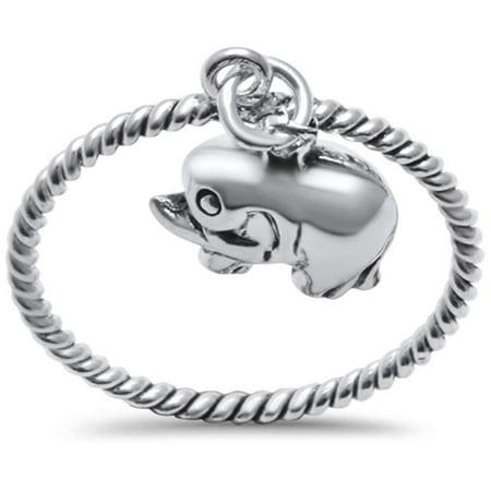 925 Sterling Silver Bali Elephant Hanging Ring Size (Hanging Ring)