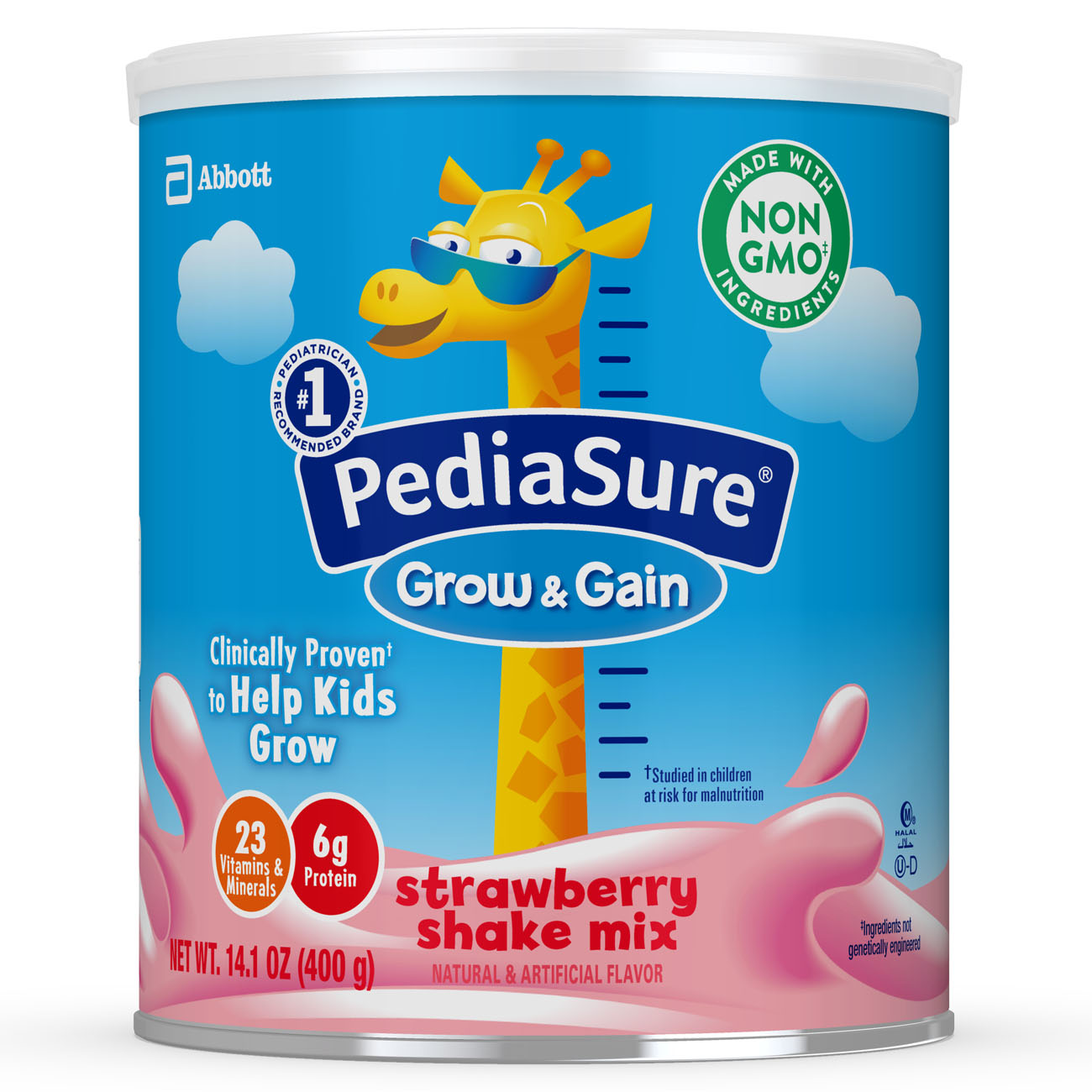 PediaSure Grow & Gain Shake Mix Strawberry 14.1 oz Cans (Pack of 6)