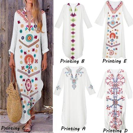 Women Dress Embroidery Long Sleeve O Neck Cotton And Linen Dresses Vintage Lady Summer Beach Long Maxi Dress Sundress Vestidos - Vestito Halloween