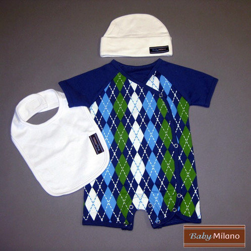 Baby Milano 3 Piece Baby Clothes Gift Set in Blue Argyle and White