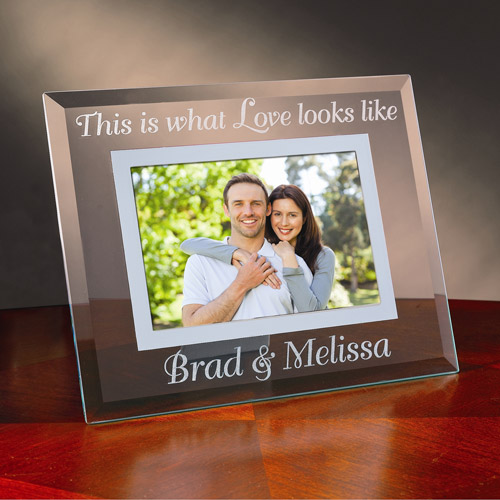 "Personalized ""This Is What Love Looks Like"" Glass Frame"