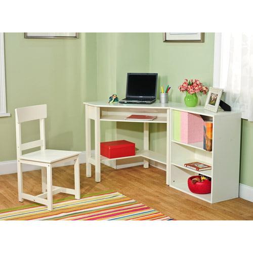 Washington 3-Piece Corner Study Set with Bookcase, White