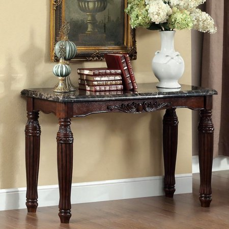 Marble Bedroom Furniture - Furniture of America Branton Traditional Espresso Faux Marble Sofa Table by FOA
