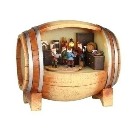 Amusements LED Lighted Revolving Musical Elves in a Wine Barrel Christmas (Led Barrel)