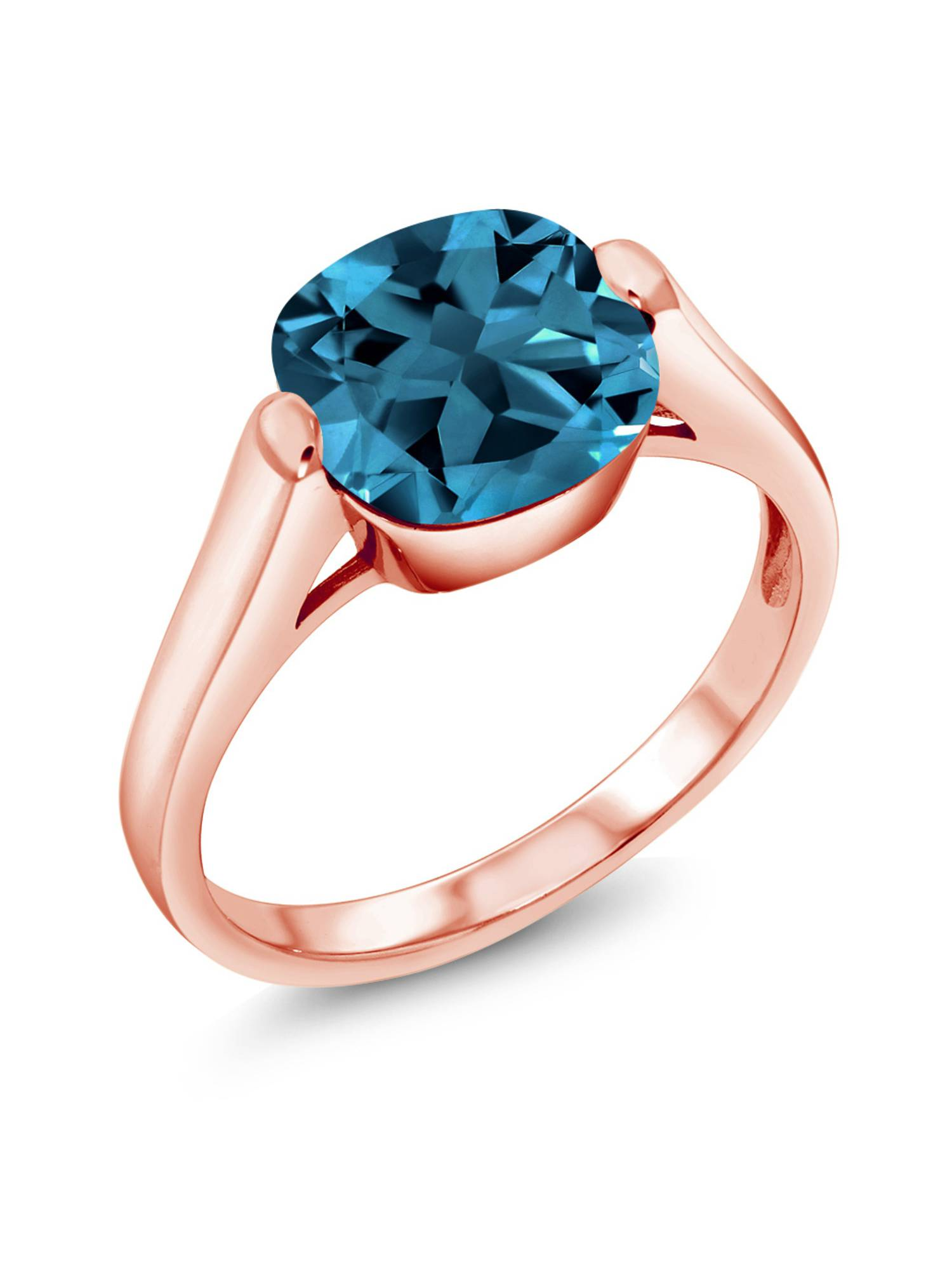 4.35 Ct Cushion London Blue Topaz 18K Rose Gold Plated Silver Ring by